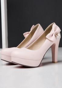 Zapatos punto de punta estilete de encaje de encaje de moda de tacón alto rosa