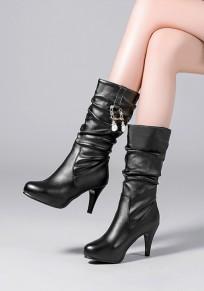 Black Round Toe Stiletto Chain Casual Mid-Calf Boots