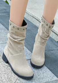 Beige Round Toe Chunky Rivet Casual Mid-Calf Boots