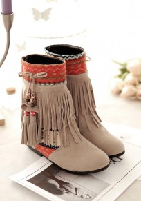 Beige Round Toe Within The Higher Print Tassel Casual Boots