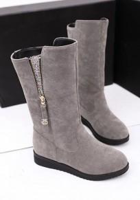 Graue Runde Zehe Flache Reißverschluss Kniehohe Stiefel Boots Herbst Winter Für Frauen