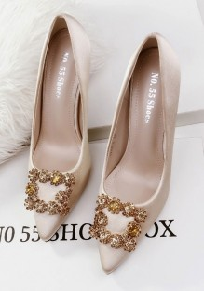 Golden Point Toe Stiletto Rhinestone Fashion High-Heeled Shoes