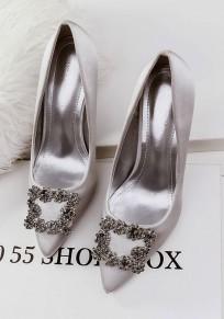 Zapatos punto de dedo del pie estilete diamante de imitación moda de tacón alto dorado