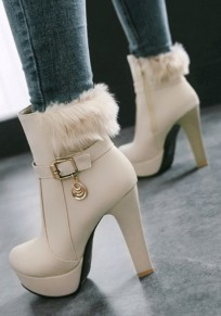 Apricot Round Toe Chunky Faux Fur Casual Ankle Boots