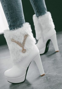 White Round Toe Stiletto Rhinestone Faux Fur Casual Ankle Boots