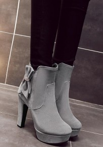 Grey Round Toe Chunky Bow Zipper Fashion Ankle Boots