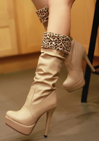 Apricot Round Toe Stiletto Casual Knee-High Boots