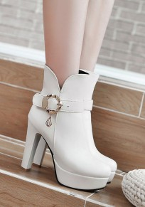 White Round Toe Chunky Buckle Casual Ankle Boots