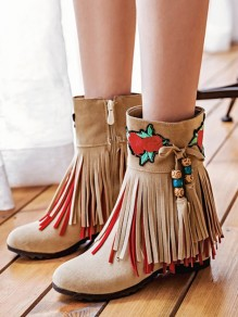 Beige Within The Higher Embroidery Tassel Beads Fashion Boho Boots