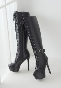 Black Round Toe Stiletto Zipper Casual Over-The-Knee Boots