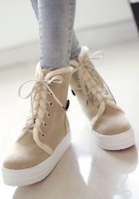 Botas punta rojoonda con encaje de encaje casuales gris