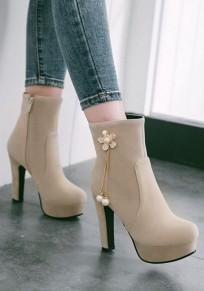 Beige Round Toe Chunky Rhinestone Flower Casual Boots