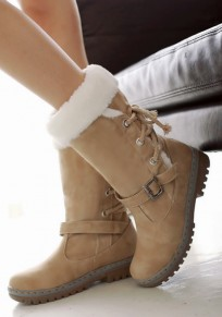 Yellow Round Toe Chunky Lace-up Buckle Casual Boots