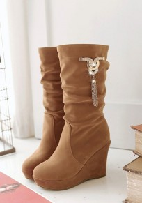Camel Round Toe Wedges Rhinestone Mid-Calf Boots