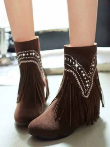 Dark Brown Round Toe Within The Higher Rhinestone Tassel Casual Boots