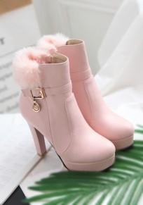 Rosa runde Zehe Klobig Kunstpelz Mode Stiefel