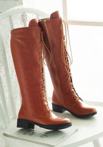 Brown Round Toe Chunky Zipper Casual Knee-High Boots