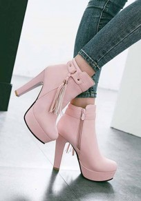 Pink Round Toe Chunky Tassel Fashion Ankle Boots