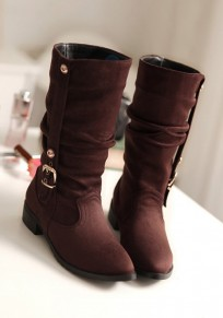 Brown Round Toe Chunky Buckle Casual Mid-Calf Boots