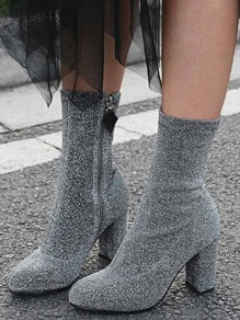 Grey Point Toe Chunky Zipper Casual Ankle Boots