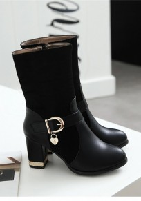 Black Round Toe Chunky Zipper Casual Mid-Calf Boots