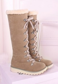 Beige Round Toe Flat Lace-up Casual Mid-Calf Boots