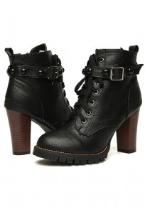 Black Round Toe Chunky Rivet Casual Boots