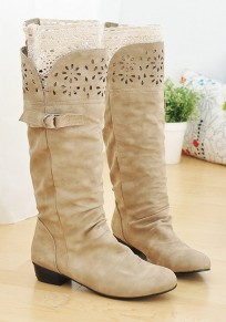 Beige Round Toe Chunky Buckle Casual Boots