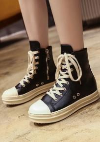 Chaussures bout rond fermeture éclair plate occasionnel noir