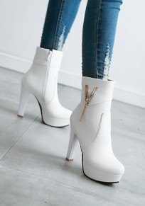 White Round Toe Chunky Metal Decoration Casual Boots