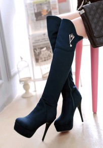 Blue Round Toe Stiletto Rhinestone Fashion Over-The-Knee Boots