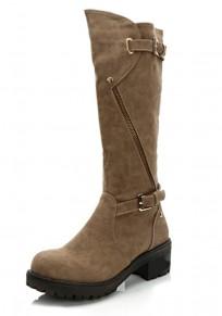 Khaki Round Toe Chunky Zipper Casual Mid-Calf Boots