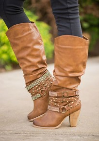 Orange Round Toe Chunky Rivet Casual Mid-Calf Boots