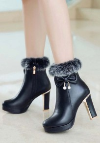 Black Round Toe Chunky Bow Fashion Ankle Boots
