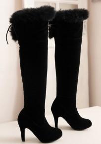 Black Round Toe Stiletto Cross Strap Fashion Over-The-Knee Boots