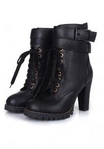Schwarze Runde Zehe Blockabsatz Schnalle Schnürung Stiefeletten Damen Schuhe Martin Stiefel Boots