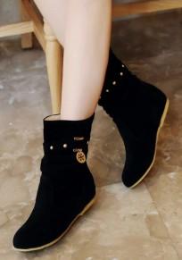 Schwarze runde Zehe flache Niet Metall Dekoration Mode Stiefel