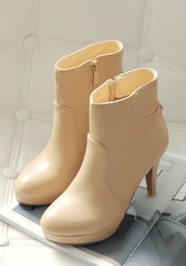 Apricot Round Toe Stiletto Zipper Fashion Ankle Boots