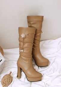 Yellow Round Toe Chunky Rhinestone Pearl Fashion Mid-Calf Boots