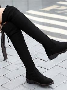 Schwarz Runde Zehe Mit Flachem Absatz Elegante Overknees Stiefel Damen Boots