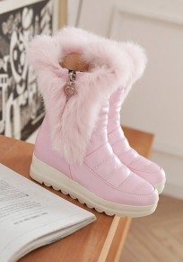 Pink Round Toe Faux Fur Casual Ankle Boots