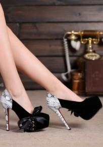 Black Round Toe Stiletto Cross Strap Fashion High-Heeled Shoes