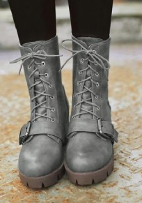 Grey Round Toe Chunky Buckle Casual Mid-Calf Boots