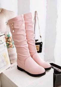 Botas punta redonda diamante de imitación plano casuales A media pierna rosa