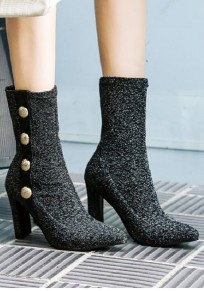 Silver Point Toe Chunky Buttons Fashion Mid-Calf Boots