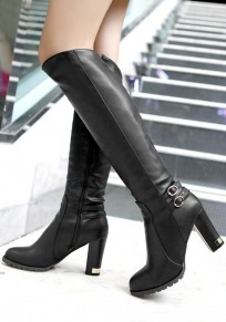 Black Round Toe Chunky Buckle Fashion Knee-High Boots