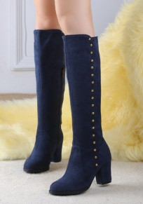 Blue Round Toe Chunky Rivet Zipper Fashion Knee-High Boots