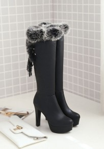 Black Round Toe Chunky Faux Fur Patchwork Fashion Knee-High Boots