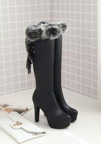 Schwarze runde zehe klumpige Kunstpelz-Flickwerk Mode kniehohe Stiefel