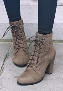 Khaki Round Toe Chunky Cross Strap Fashion Ankle Boots